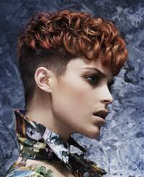 curly shaved side hair short brown curly coloured multi tonal shaved sides womens haircut