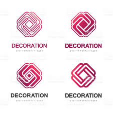 set of vector logos for interior furniture shops decor items and