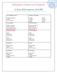 Microsoft Excel Business Templates Emergency Contact List Template Business Microsoft