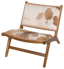 Low Armchairs Harley Low Rider Cowhide Lounge Chair Brown Farmhouse