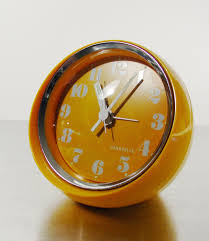 mid century modern table alarm clock by caravelle from bulova