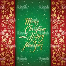 New Year Decoration Elements by Christmas And New Years Decorative Elements On Red And Green Stock