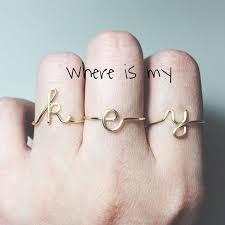 custom initial rings custom initial ring sterling silver letter ring gold