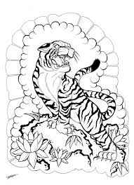 my japanese tiger and floral design 3 by shannonxnaruto on