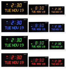 ivation big oversized digital blue led calendar clock with day and