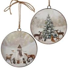 raz imports set of 2 ornaments woodland ebay