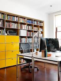bright wooden filing cabinets in home office eclectic with painted