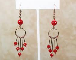 Long Chandelier Earrings Dangle Earrings Red Teardrop Earrings Red Dangle Earrings Red Drop Earring