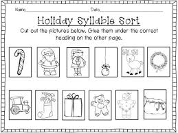 holiday syllable sort cut u0026 paste freebie product from primary