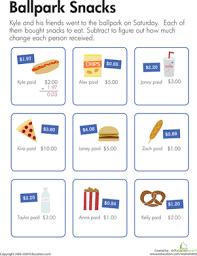 making change at the ballpark worksheets money worksheets and math