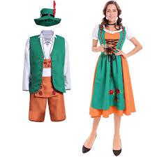 couples costume women bavarian oktoberfest dirndl couples costume green