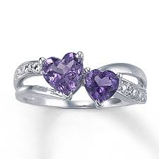 amethyst diamond engagement ring kay amethyst heart ring with diamond accents sterling silver