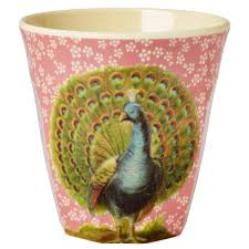 rice melamine cup with peacock print pink cult furniture uk