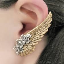 dramatic earrings brass angel wing earrings clip on earring steunk jewelry