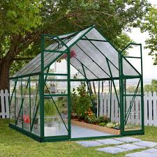 outdoor modern palram greenhouse with stake paver floor and green