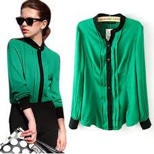 green womens blouse fashion chiffon sleeve shirt tops blouse 20