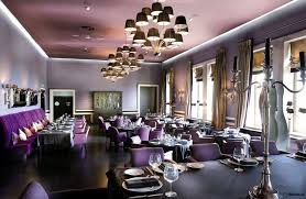 modern interior design for luxury restaurant with purple color