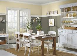 dining room design with interior decoration yellow walls beige