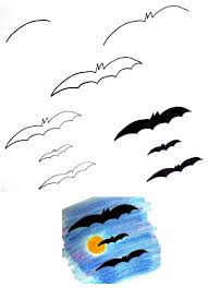 bat drawing for kids
