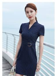 ol deep blue stripe office ladies dress bodycon with running belt