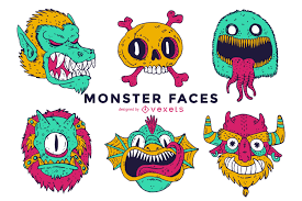 Halloween Monster Faces by Illustrated Monster Faces Collection Vector Download