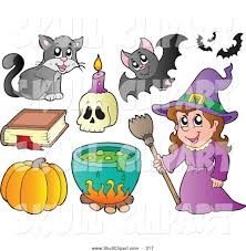 vector clip art of a group of halloween icons a witch with
