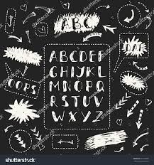 set hand drawn chalk doodle alphabet stock vector 667502668