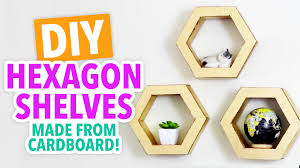 diy hexagon shelves from cardboard hgtv handmade youtube