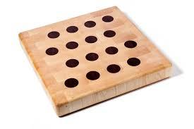 maple end grain butcher block with walnut polka dots