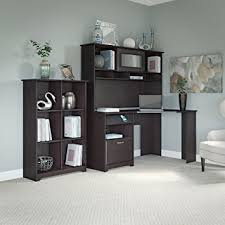 amazon com cabot corner desk with hutch and 6 cube bookcase