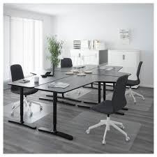 Black Office Desk Bekant Workstation Birch Veneer White 126x86 5 8 Ikea
