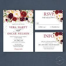 bohemian wedding invitations fall floral boho wedding invitation suite marsala burgundy