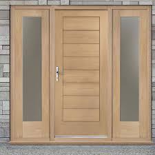 Exterior Flush Door Modena Exterior Flush Oak Door And Frame Set With Two Side Screens