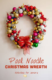 How To Make Christmas Wreath With Ornaments Pool Noodle Christmas Wreaths