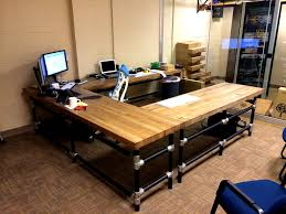 u shaped butcher block desk learn how to build a desk like flickr u shaped butcher block desk by simplified building concepts