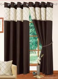 2 Tone Curtains Brown Colour Modern Faux Silk 2 Tone Ring Top Eyelet Lined