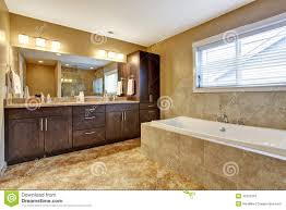 Dark Brown And White Bathroom - modern bathroom interior with dark brown cabinets stock image