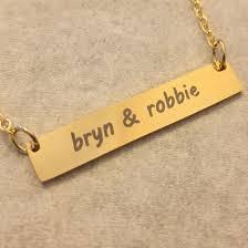Gold Name Bar Necklace Nameplate Necklace Name Bar Necklace Best Friends Relationship