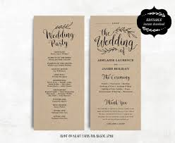 tea length wedding programs printable wedding program template kraft paper program diy