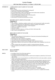resume exles for restaurant restaurant assistant manager resume sles velvet