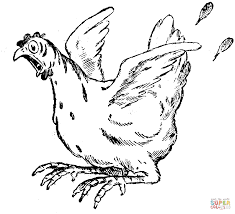 frightened hen coloring page free printable coloring pages