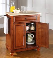 buy alexandria natural wood top kitchen island w round bun feet