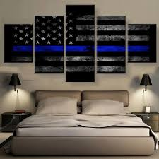 Thin Blue Line Flag Thin Blue Line Canvas Set Canvas Freaks