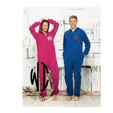 monogram on left chest only onesie fleece pajama