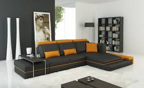 dark gray u0026 orange leather sectional sofa with adjustable