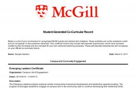 Co Curricular Activities In Resume Sample Co Curricular Record Myinvolvement Mcgill University