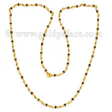 beads gold necklace images Gold necklace with tulsi beads 22k 24 5 inches gold palace jpg