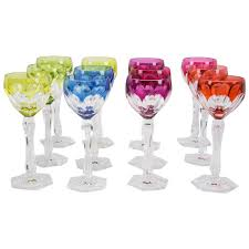 crystal wine glasses set of 12 val saint lambert wine glasses circa 1950s for sale at