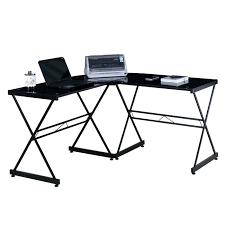 Techni Mobili L Shaped Glass Computer Desk With Chrome Frame Techni Mobili L Shaped Glass Computer Desk Shopango
