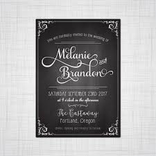 Wedding Invitation Acceptance Card Chalkboard Calligraphy Wedding Invitation Elopement Reception